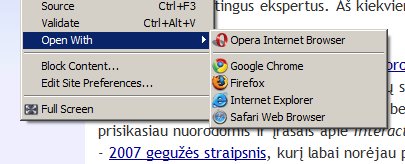 "Opera: ""open with -> (another browser)"""