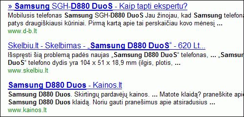 Google paieška - rezultatai kaip spemas